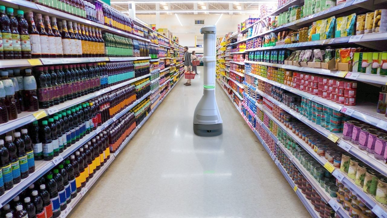 The Zebra EMA 50 enterprise mobile automation system roams the aisle of a grocery store