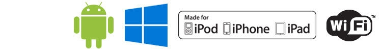 Android logo, Windows 8 logo, iPod, iPhone, iPad compatible logo, Wi\u002DFi logo