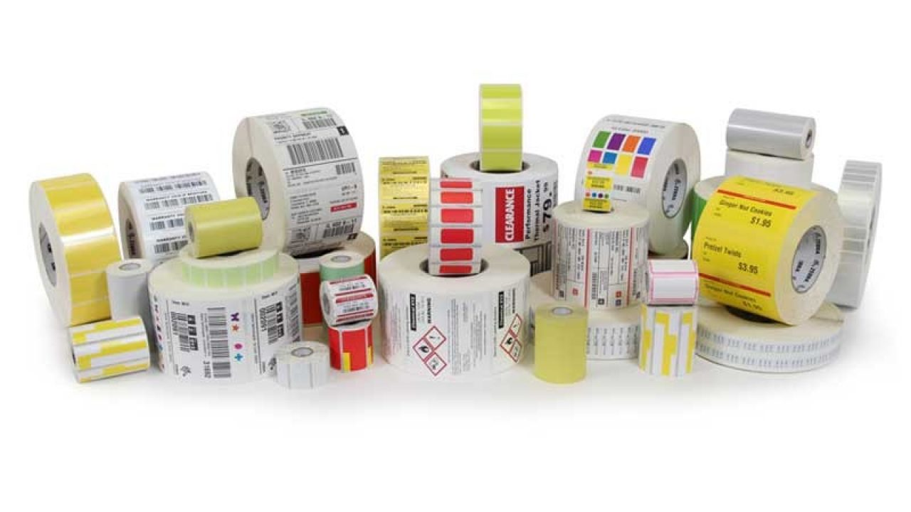 Rolls of Zebra printing labels and tags