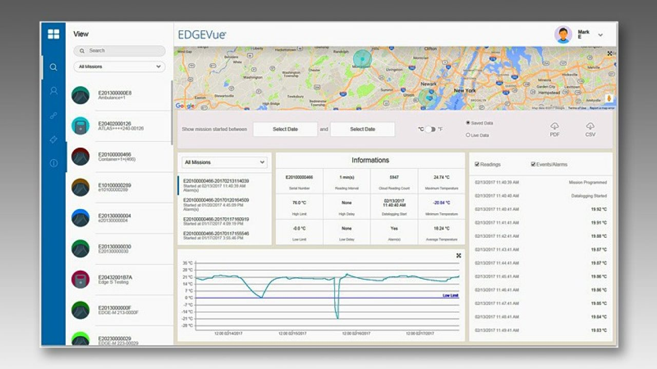 Screenshot of the EDGEVue web application