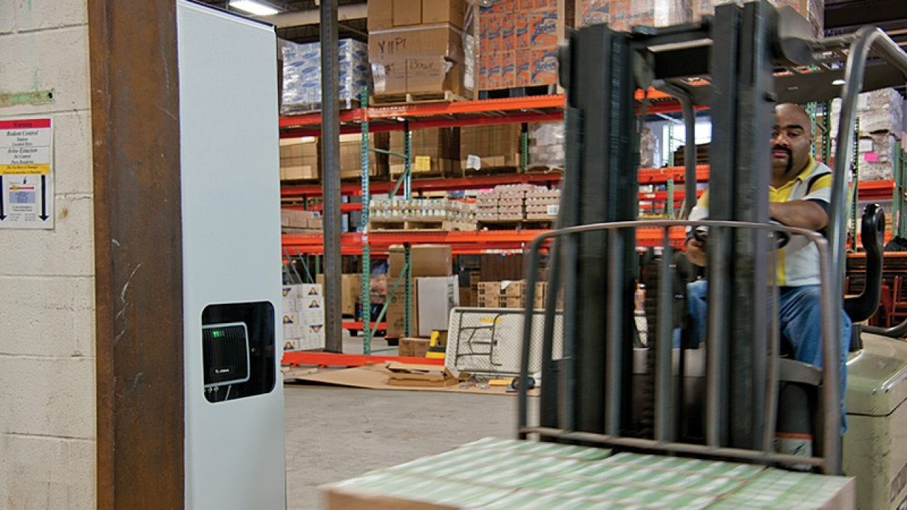 RFID reader in a doorway of a warehouse