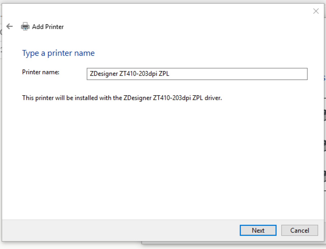 Type a printer name screen