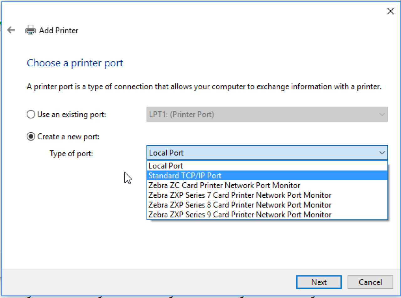 Choose a printer port screen