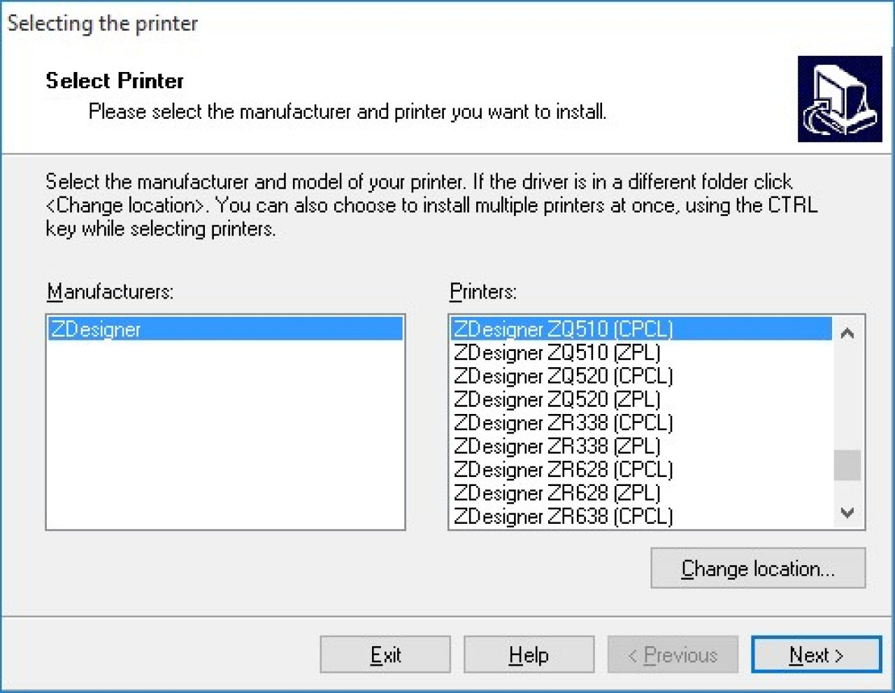 Install Printer screen capture