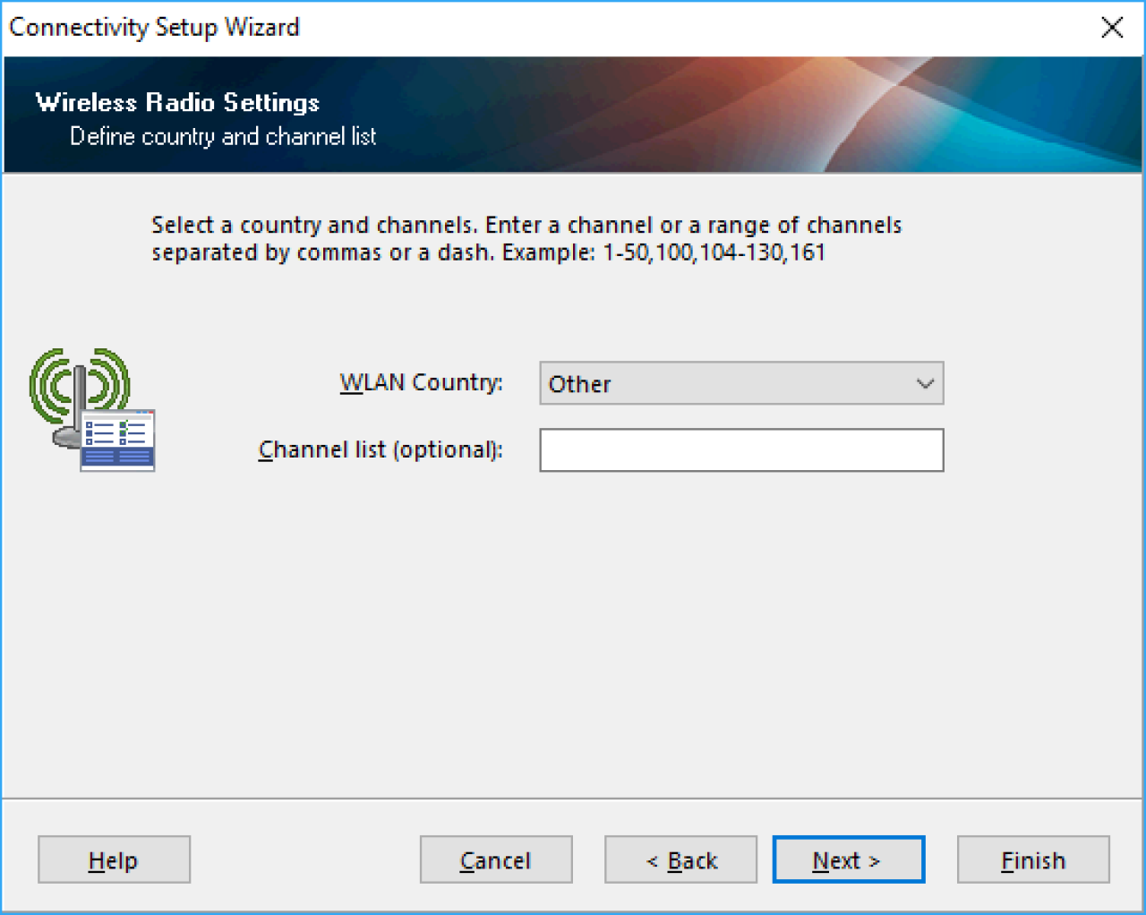 Select Country screen