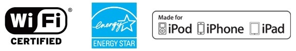 Icone di compatibilità delle stampanti Zebra ZD620 Healthcare: Icona WiFi Certified, icona Energy Star, icona Made for iPod, iPhone, iPad