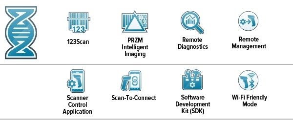 Ícono de Mobility DNA, ícono de 123Scan, ícono de PRZM Intelligent Imaging, ícono de Remote Diagnostics, ícono de Remote Management, ícono de Scanner Control Application, ícono de Scan\u002DTo\u002DConnect, ícono de Software Development Kit (SDK), ícono de Wi\u002DFriendly Mode
