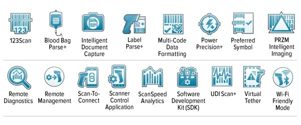 Ikona funkcji Mobility DNA, ikona funkcji 123 Scan, ikona funkcji Intelligent Document Capture, ikona funkcji Multi\u002DCode Data Formatting, ikona funkcji PowerPrecision+ Battery, ikona funkcji Preferred Symbol, ikona obrazowania PRZM intelligent imaging, ikona funkcji Remote Diagnostics, ikona funkcji Remote Management, ikona funkcji Scanner Control Application, ikona funkcji ScanSpeed Analytics, ikona funkcji Scan\u002Dto\u002DConnect, ikona pakietu Software Development Kit (SDK), ikona trybu Wi\u002DFi Friendly Mode