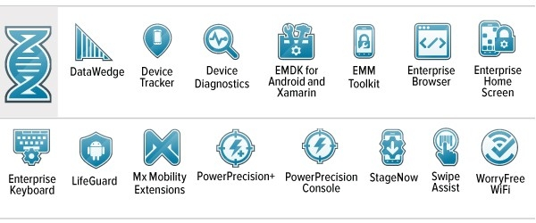 Mobility DNA, DataWedge, Device Tracker, Device Diagnostics, EMDK for Android and Xamarin, EMM Toolkit, Enterprise Browser, Enterprise Home Screen, Enterprise Keyboard, LifeGuard, Mx Mobility Extensions, PowerPrecision+, PowerPrecision Console, StageNow, Swipe Assist, WorryFree WiFi