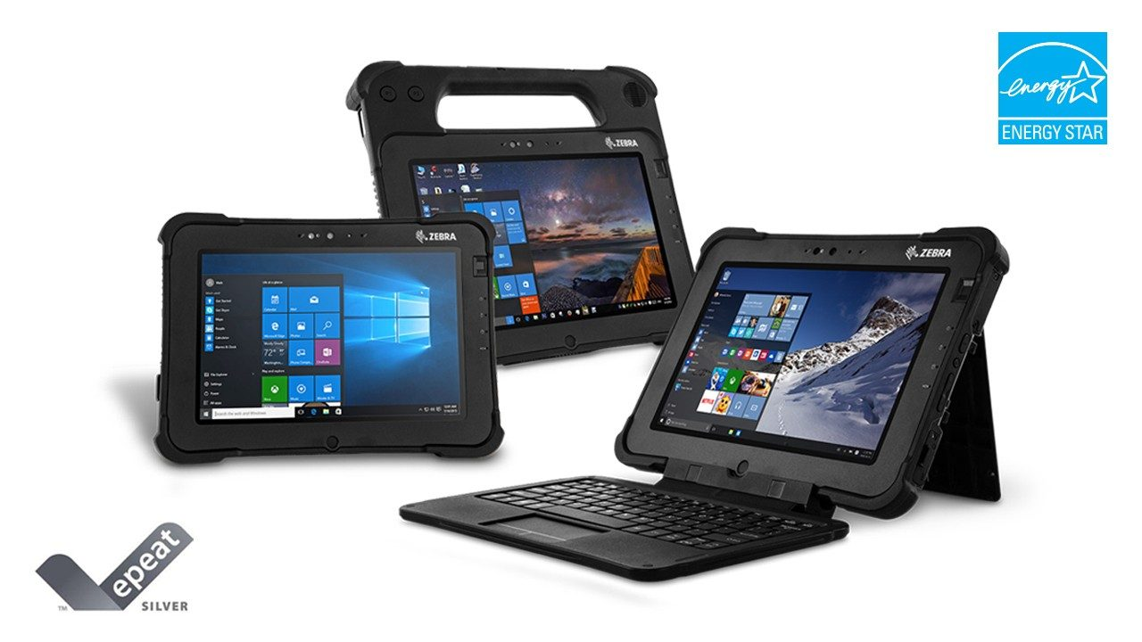 The Zebra L10 rugged tablet portfolio with the EPEAT and Energy Star logos