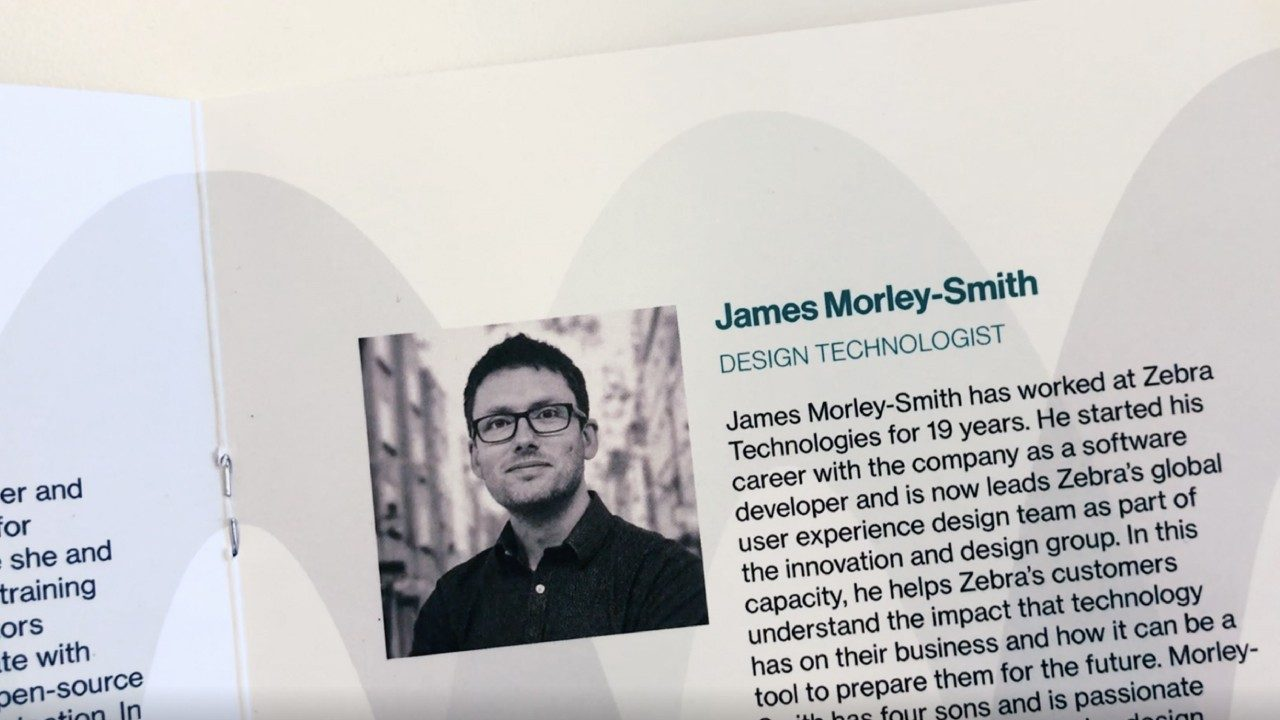 A snapshot of James Morley\u002DSmith`s presenter bio in the TED Talk program book