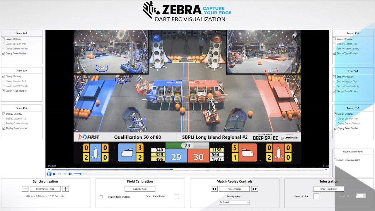 A screen grab of what the FIRST Robotics team sees using Zebra technologies