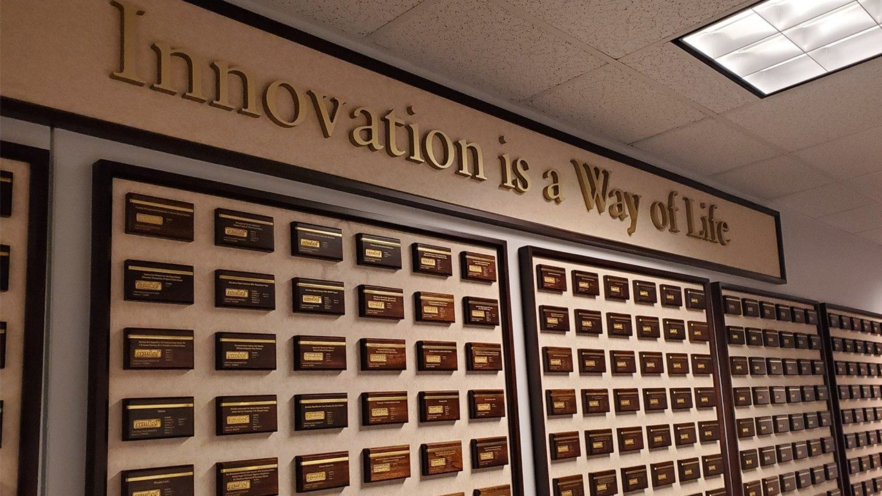 "The ""wall of patents"" at Zebra's Holtsville office"