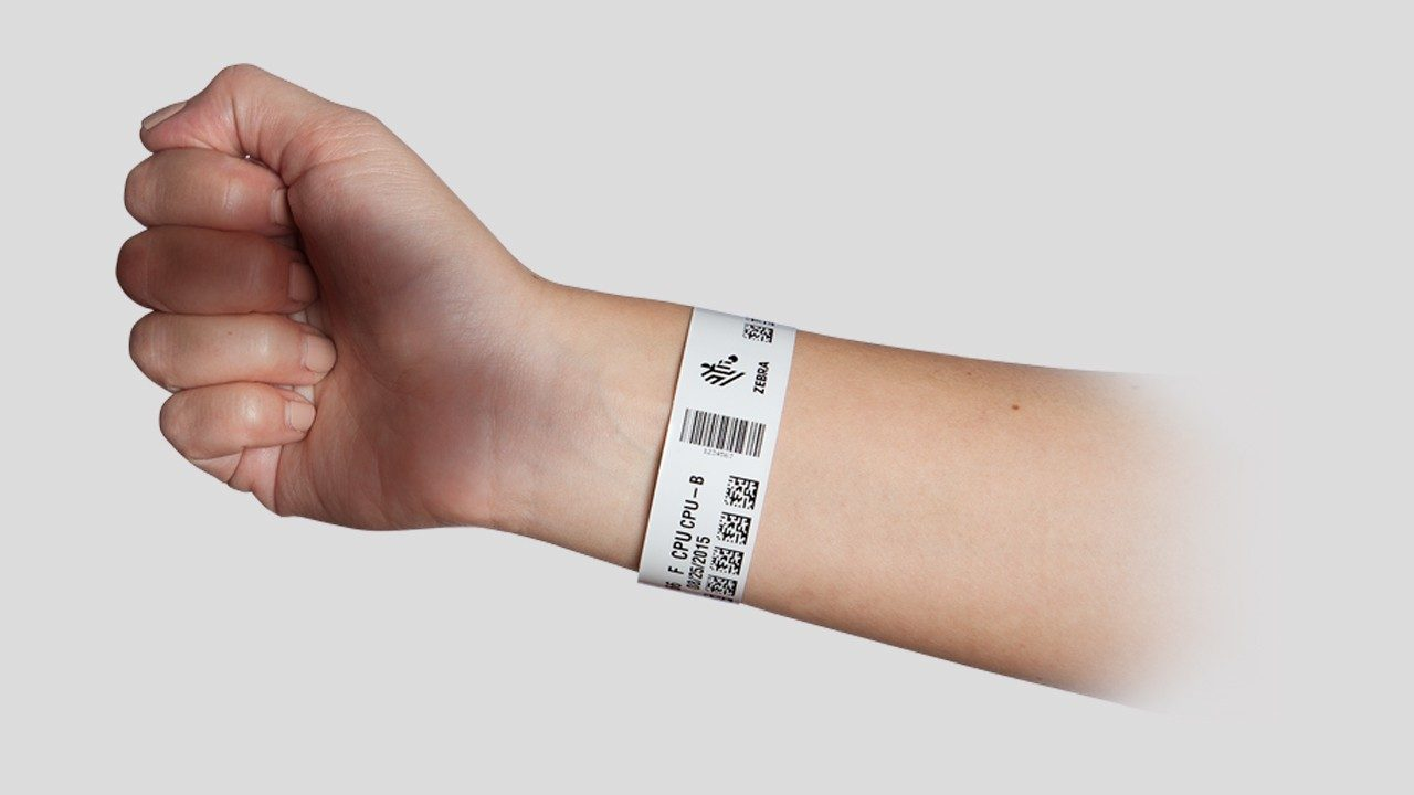 A Zebra wristband on a patient`s arm