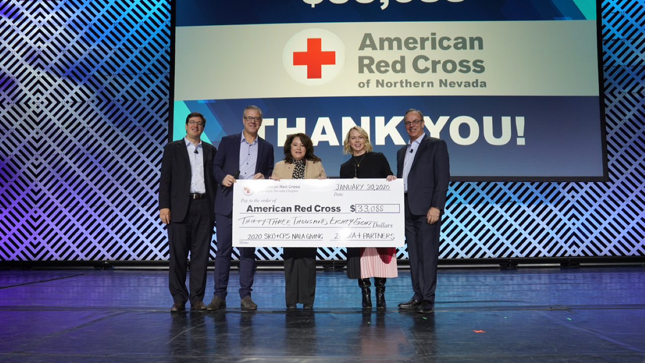 The check presentation to the American Red Cross