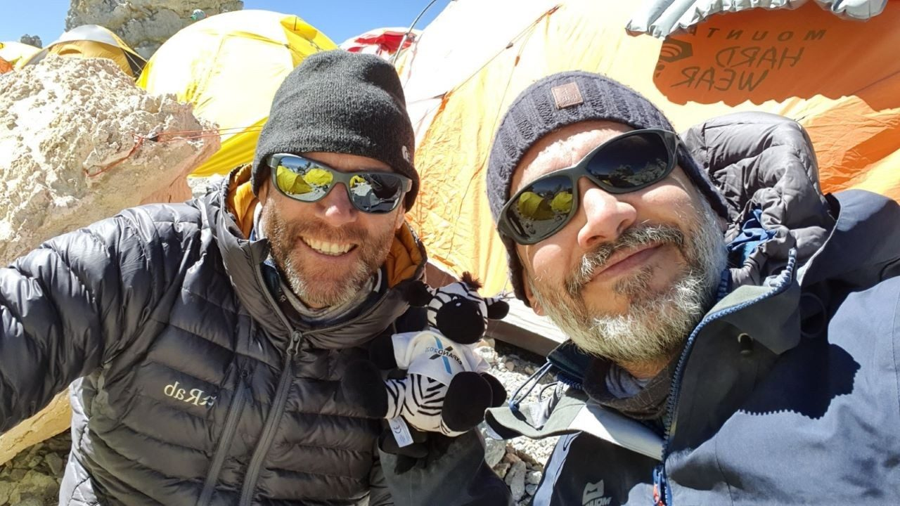 Two of the Zebras climbing Mount Aconcagua with Zippy