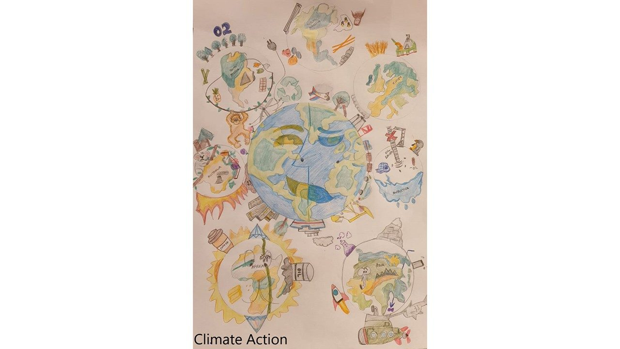 A winning poster in Zebra`s 2020 Earth Day Climate Action poster contest, created by Hannah Jeffery from the UK
