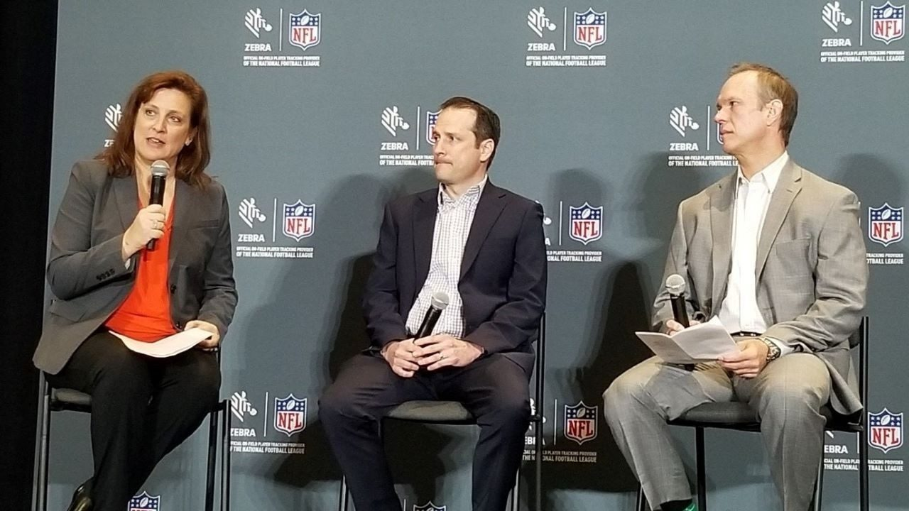 Zebra`s Therese Van Ryne, the NFL`s Matt Swensson and Zebra`s John Pollard at the Zebra and NFL Super Bowl 54 Press Conference