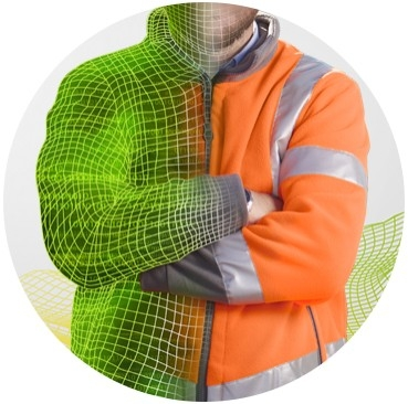 Man in orange work clothes with crossed arms