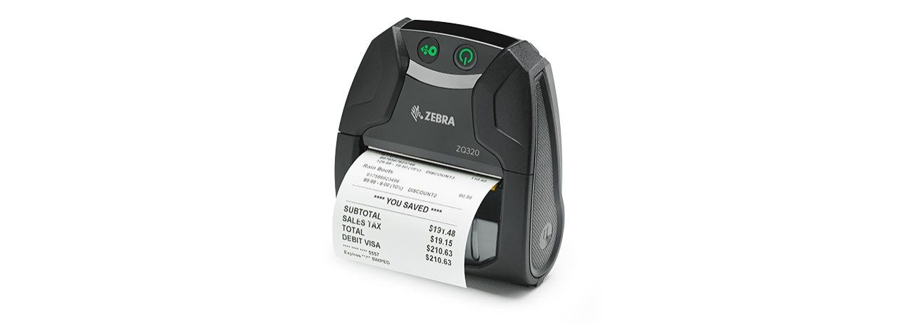 Image of the ZQ320 indoor mobile label and receipt printer angled left