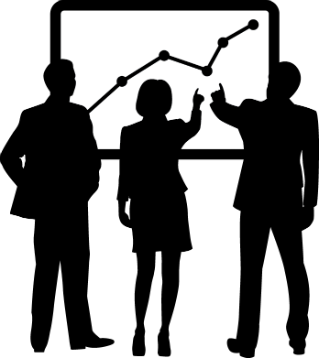 silhouette of three people facing a board