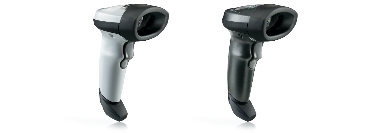 Side view of the white and black versions of the LI2208 Handheld Scanner