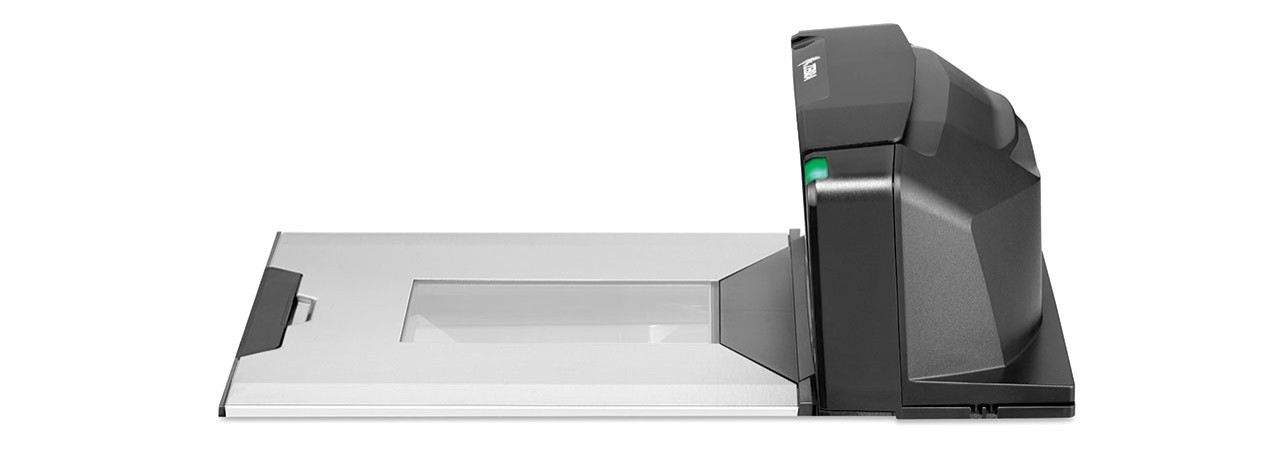 Left side view of the counter portion of the Zebra MP7000 Grocery Scanner Scale