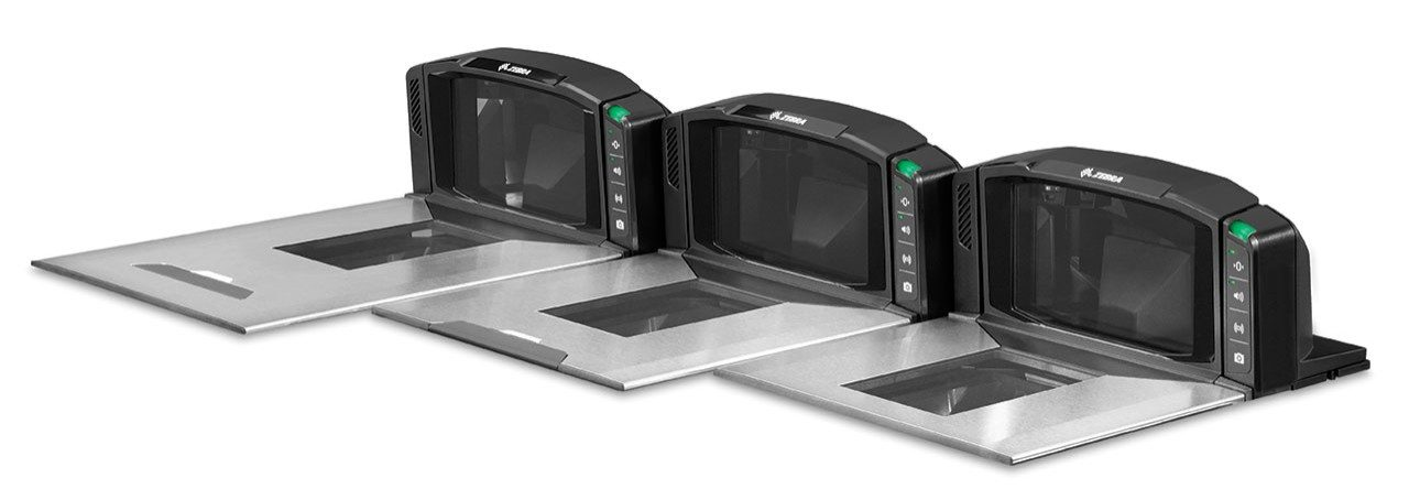 Angled left side view of the counter portion of the three sizes of the Zebra MP7000 Grocery Scanner Scale