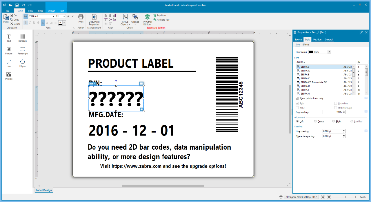 product label \u002D zebradesigner essentials \u002D software page