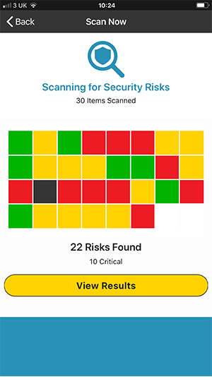 Scan Now Screen for Scanning Security