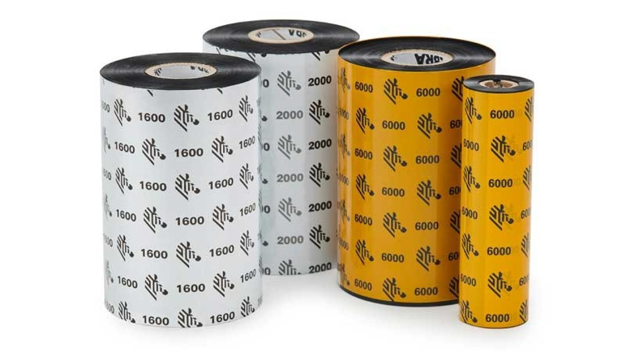Rolls of Zebra wax ribbons