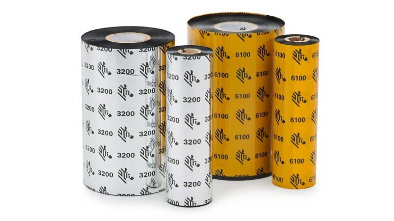Rolls of Zebra wax resin ribbons