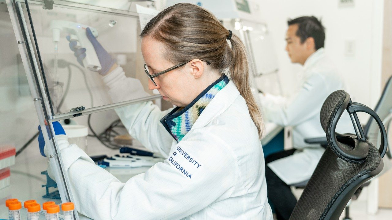 Woman testing in a lab