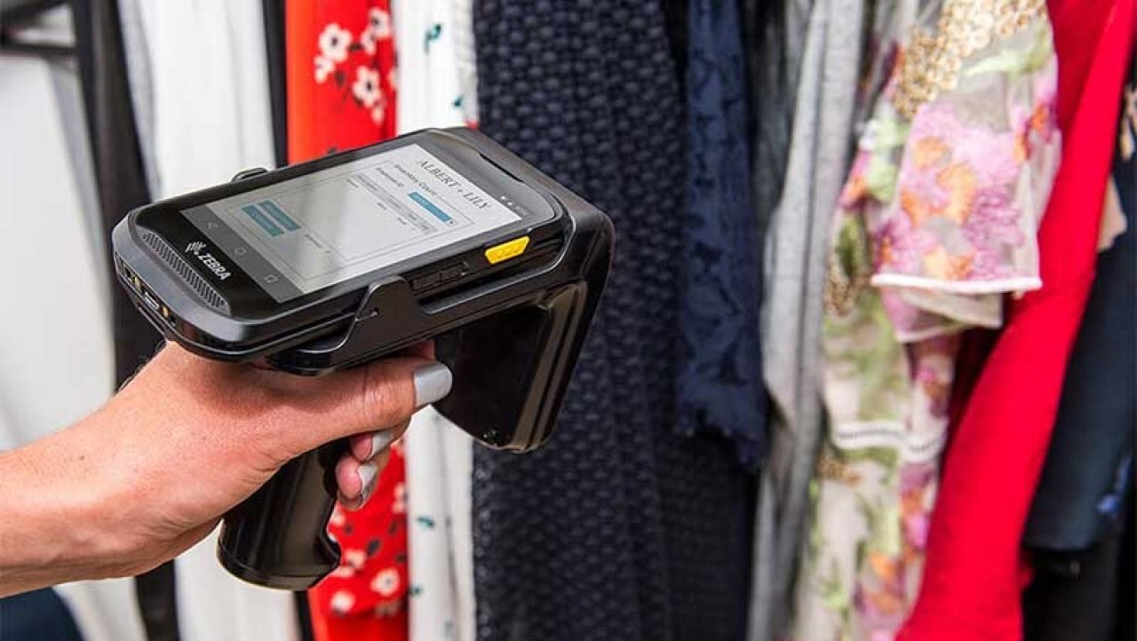 Zebra scanning being used to take clothing inventory