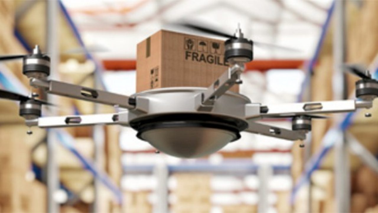 Warehouse delivery drone carrying package