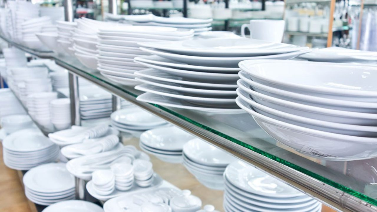 stacks of clean dishes for restaurant service