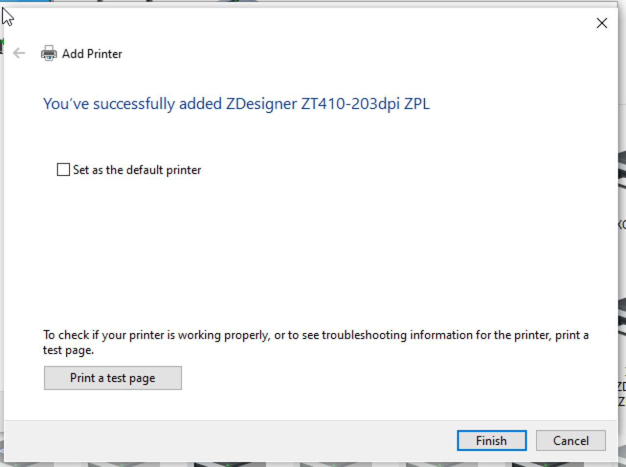 프린터 설치 화면 완료