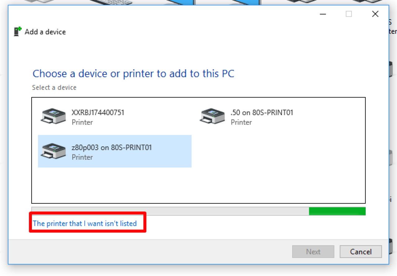 この PC 画面に追加するデバイスまたはプリンターを選択してください