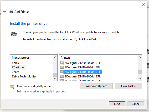 Install the printer driver screen