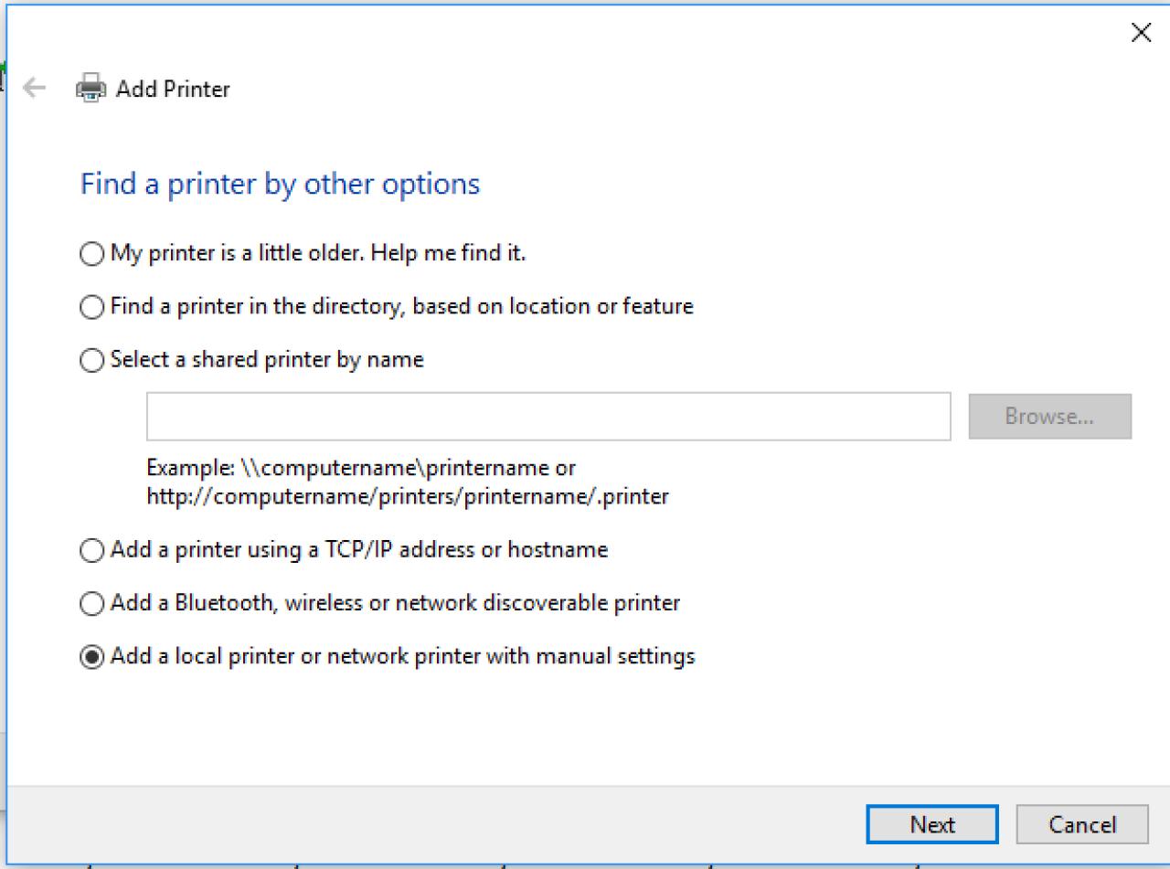 Encontre uma impressora por outratela de opções