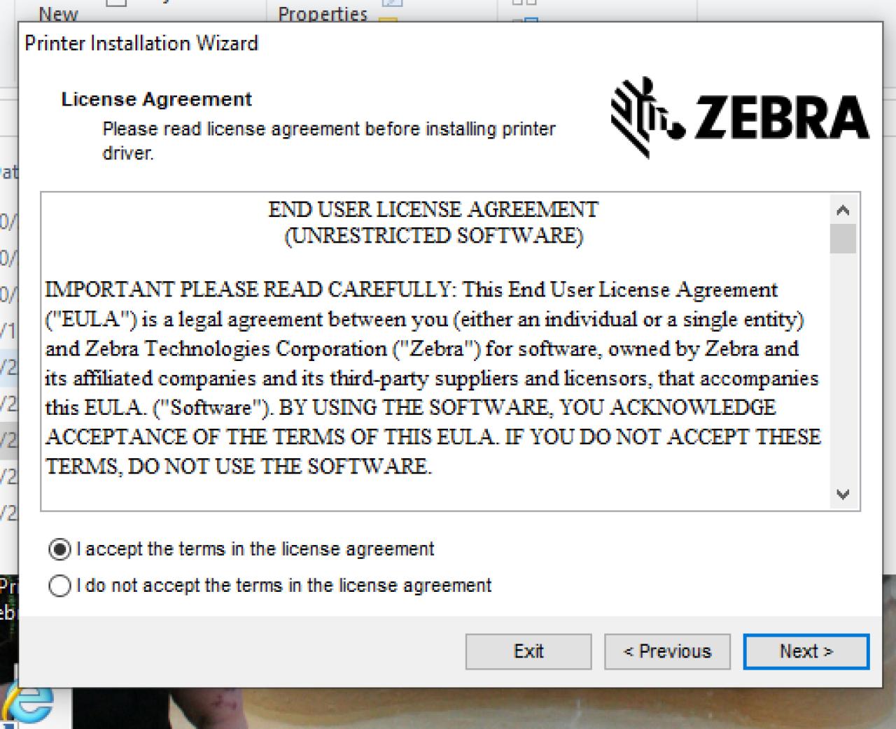 Schermata del contratto di licenza per l'utente finale