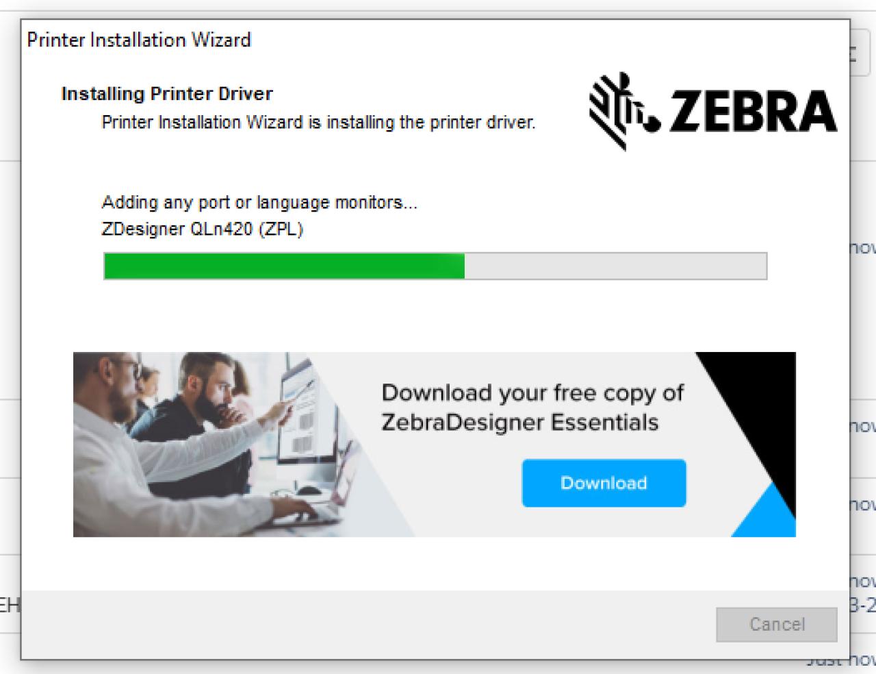 Установка экрана драйвера принтера