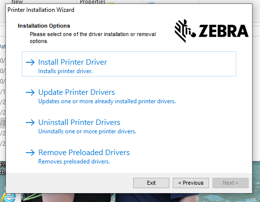 Install printer driver screen