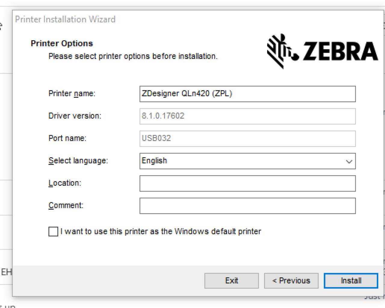 Выберите экран имени принтера