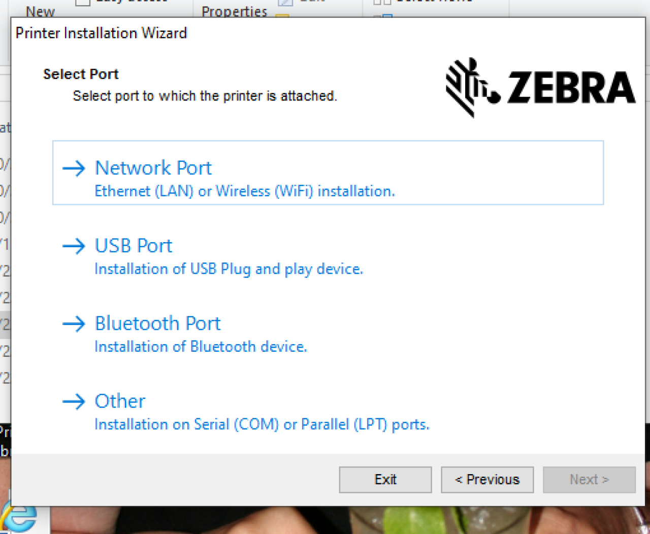 Seleccione la pantalla del puerto USB