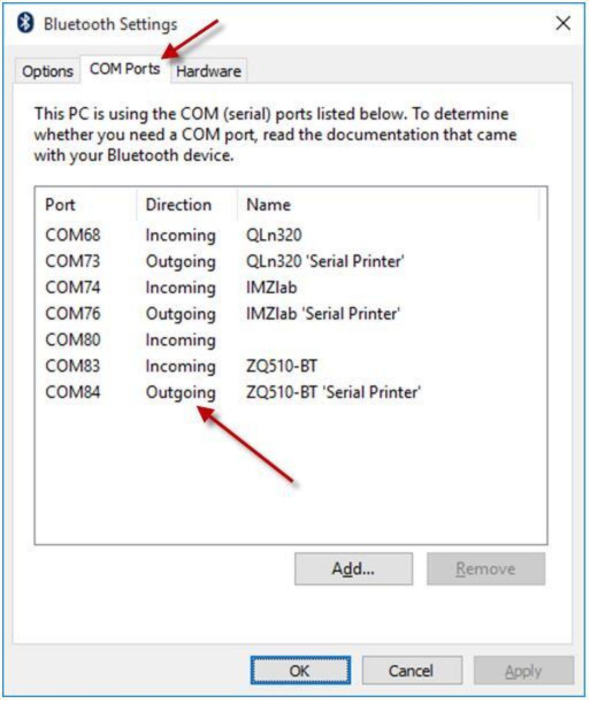Más opciones Bluetooth captura de pantalla