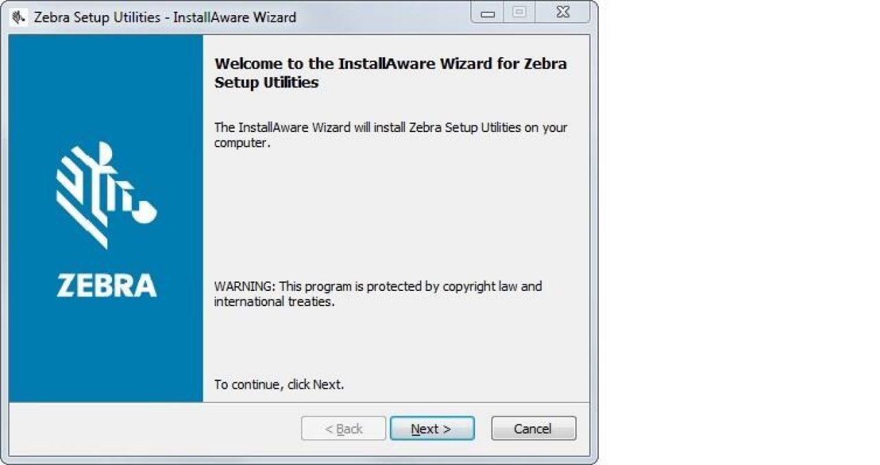 Schermata di installazione dell'utilità di installazione dell'installazione di zebra