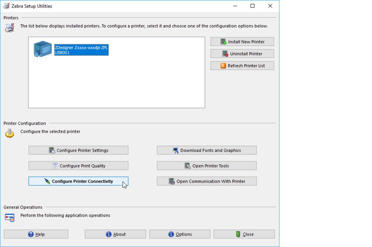 Zebraセットアップユーティリティリストにプリンタが表示されていることを確認します
