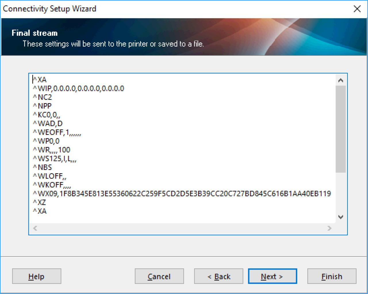 Acquisizione dello schermo del flusso finale del codice wireless