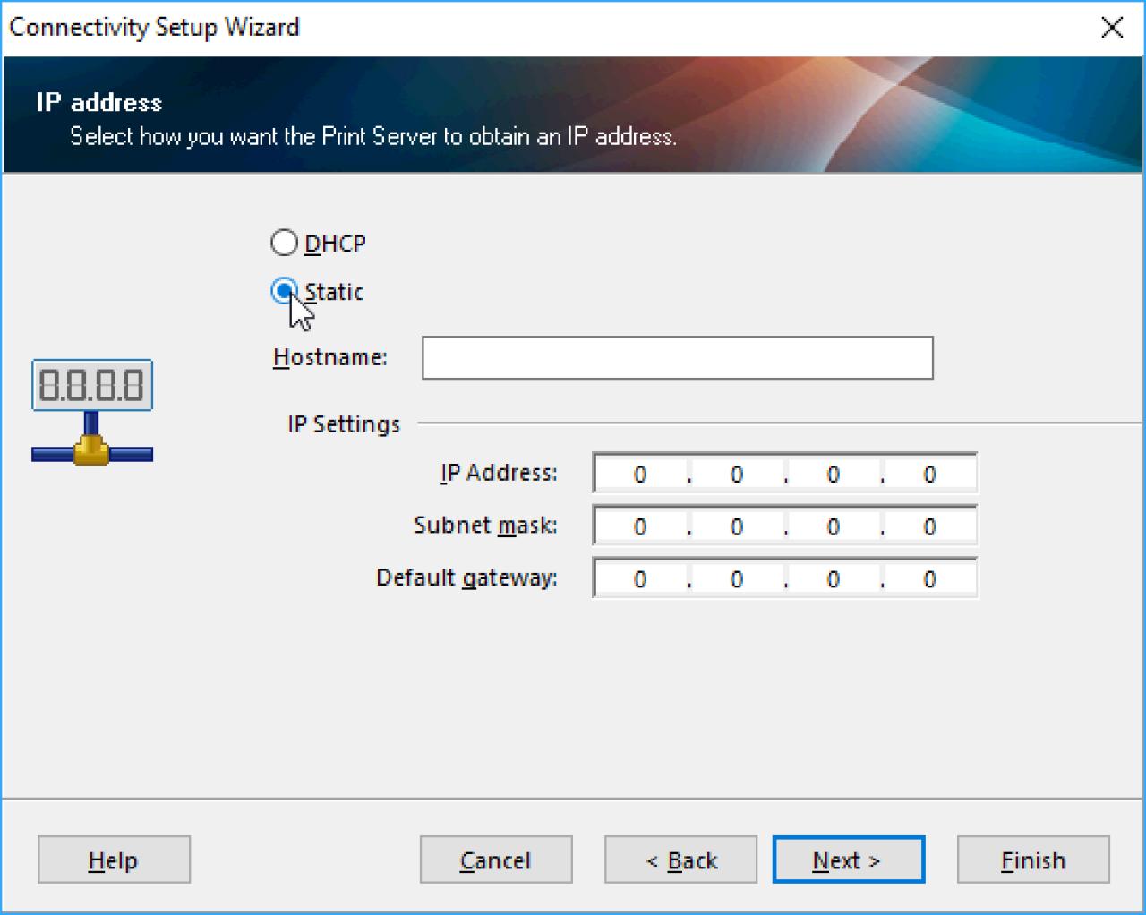 Tela de configuração de endereço IP estática